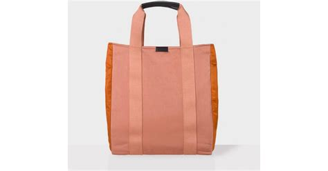 paul smith s dusty pink and orange slim tote bag in