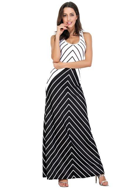 Striped Sleeveless Dress s sleeveless striped contrast maxi dress achicgirl
