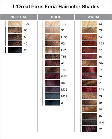 feria colors l39oreal feria 3d preference hair colour choose your shade