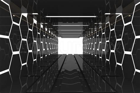 black white futuristic futuristic interior decorate black hexagon wall empty room