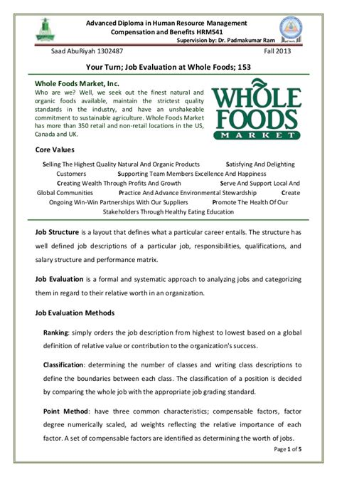 evaluation at whole foods