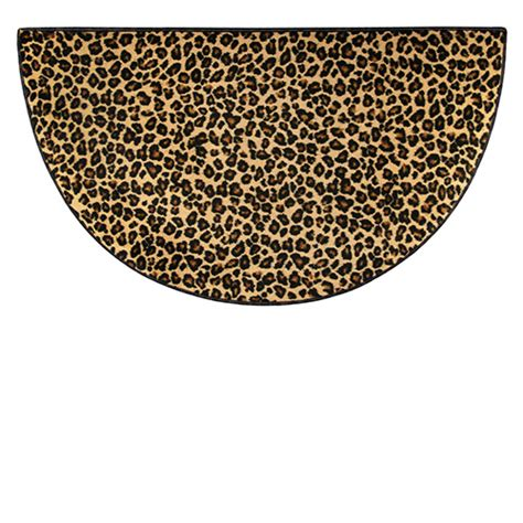 Goods Of The Woods Brown Leopard Safari Half Round Hearth 48 Inch Rug