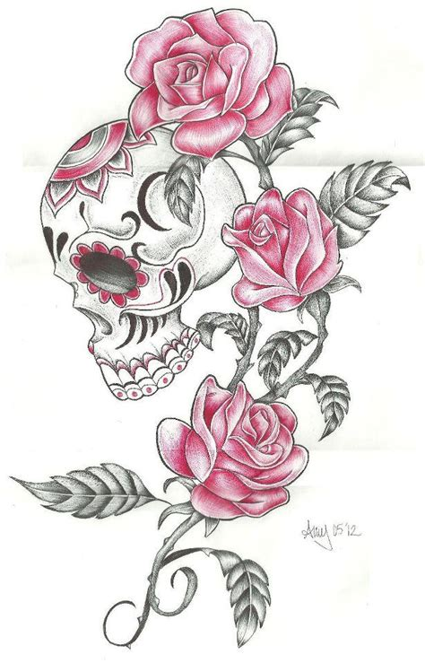 feminine skull tattoo designs photo skull and roses by amyiza58 d535owj zpsdb020fca jpg