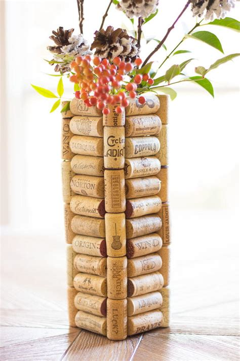 super thrifty christmas wine cork diy vase