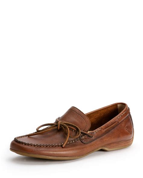 lewis loafers frye lewis leather tie loafer in brown for lyst