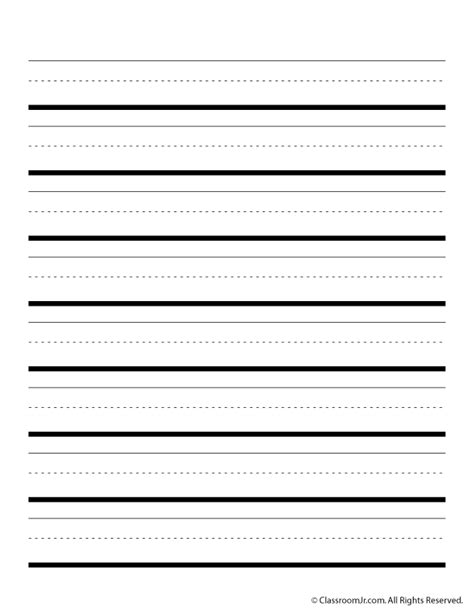 printable writing templates handwriting paper