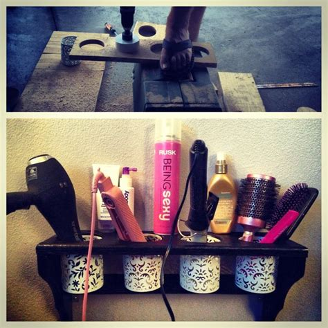 Diy Dryer And Flat Iron Holder diy hair dryer curling iron straightener holder