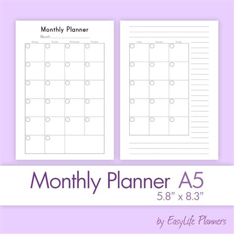 monthly planner printable a5 133 best images about a5 planners filofax halfsize