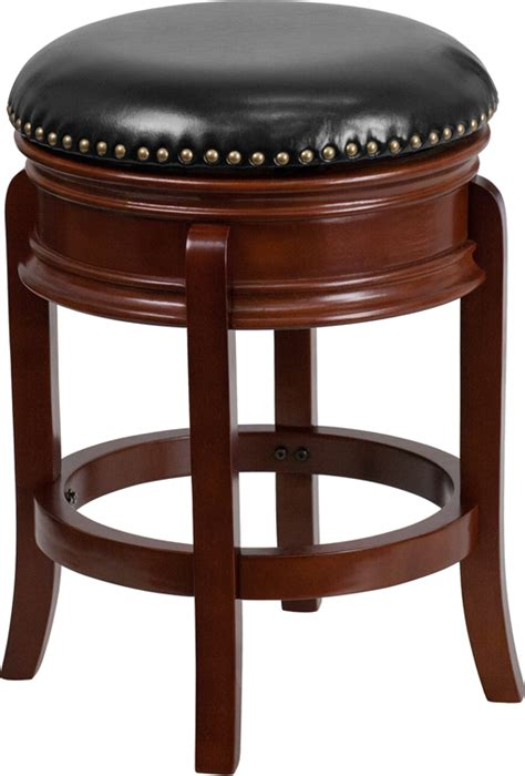 Maple Bar Stools With Leather Seats by 24 High Backless Light Cherry Wood Counter Height Stool