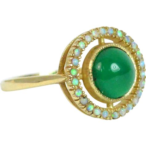 tourmaline opal opal and green tourmaline 9k gold target ring from