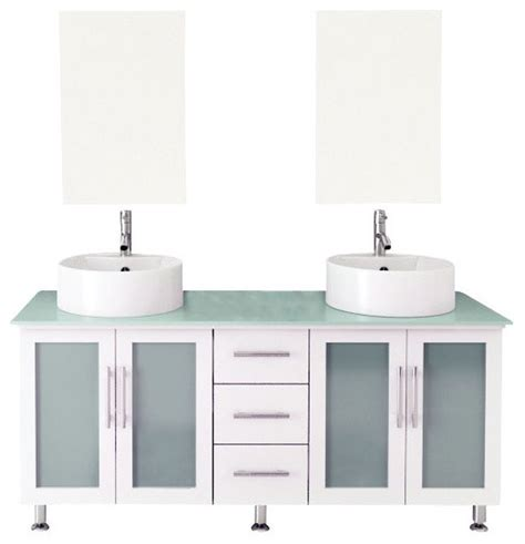 Modern Glass Bathroom Vanities 59 Quot Lune White Large Vessel Sink Modern Bathroom Vanity With Glass Top Modern