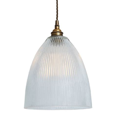 Small Ribbed Glass Hanging Pendant Light With Clear Ribbed Glass Pendant Light
