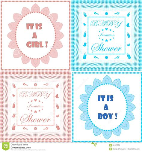 ensemble template card 8 baby shower invitation card set royalty free stock image