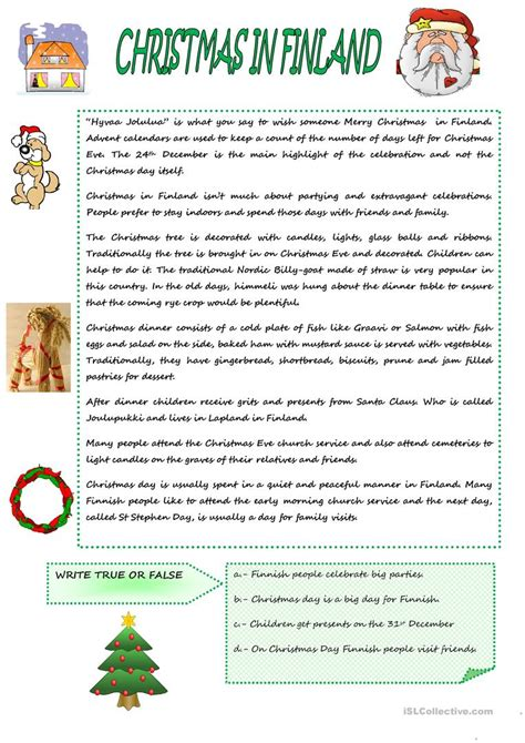 free christmas printable worksheets reading comprehension christmas in finland worksheet free esl printable