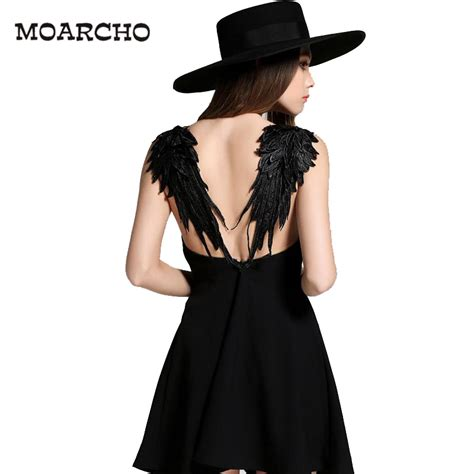 Slim Casual Top Black White 221884 moarcho summer black white lace wings dress 2017 casual slim backless dresses