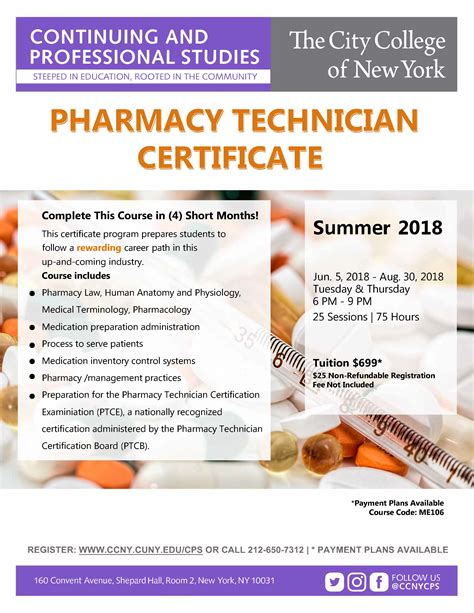 Pharmacy Course by Pharmacy Technician Certification Course The City