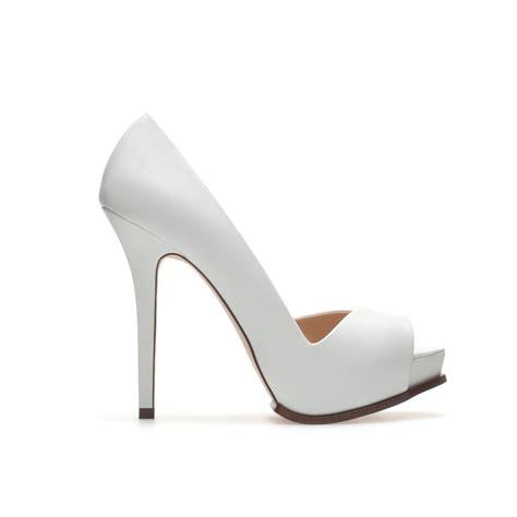 zara asymmetric peep toe in white lyst