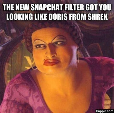 snapchat filter     doris  shrek