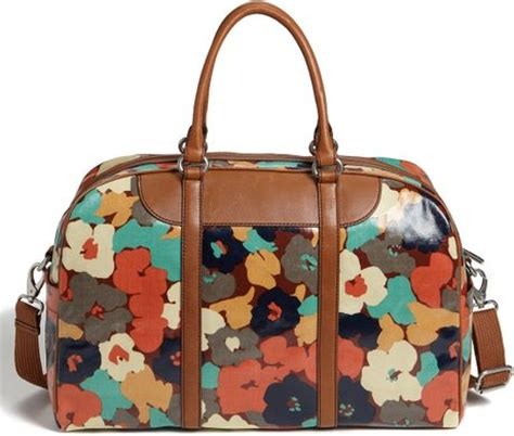 Fossil Tote Floral fossil vintage key per coated canvas duffel bag in floral lyst