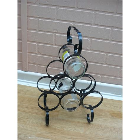 Handmade Wrought Iron - wine rack to hold six bottles wrought iron handmade