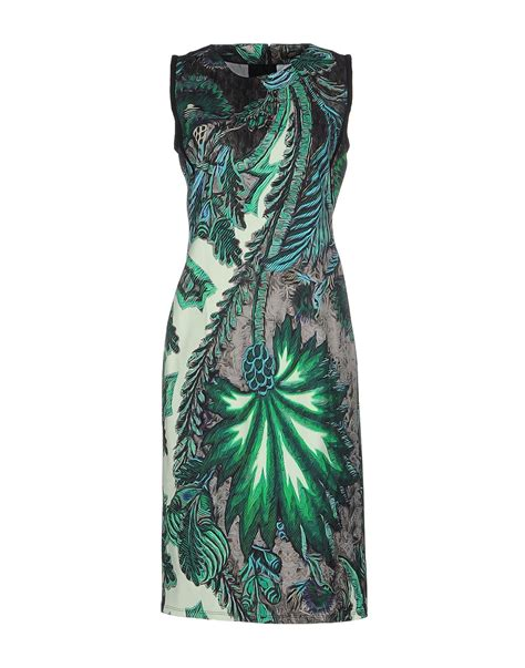 Roberto Cavali Green lyst roberto cavalli knee length dress in green
