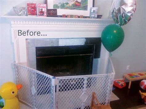 baby proof fireplace screen before after a stylish babyproof fireplace