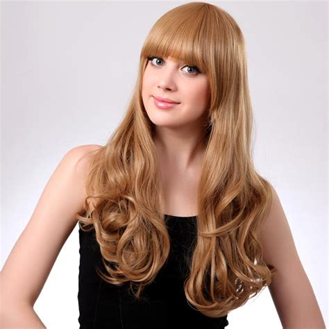 Blonde Neat Bang Hairstyle Synthetic Curly Long Wig   Alex NLD