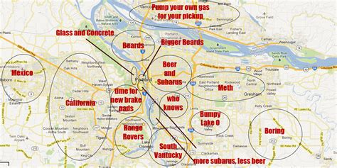 map portland oregon area generalized and offensive map of the portland metro area x