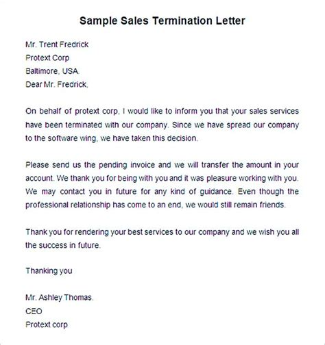 termination letter sales agreement 19 termination letter sle how it should be written