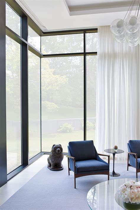 mid century modern interior mcm armchair large windows