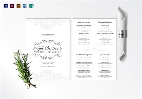 modern french menu design template in psd word publisher