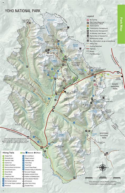 canadian national parks map maps yoho national park