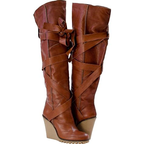 the knee wedge boots light brown paolo shoes