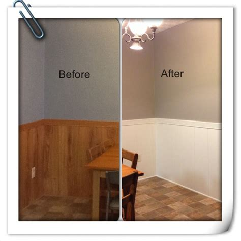 Painting Wainscoting White by Before And After With Painted Oak Paneling Walls Went