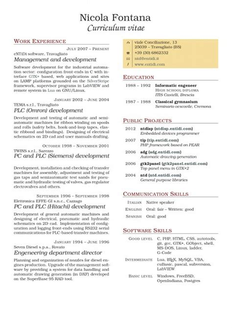 tccv two columns curriculum vitae