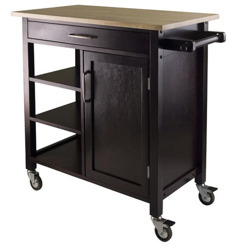 Kitchen Cart And Island Mali Kitchen Cart Espresso Finish Modern Kitchen Islands And Kitchen Carts