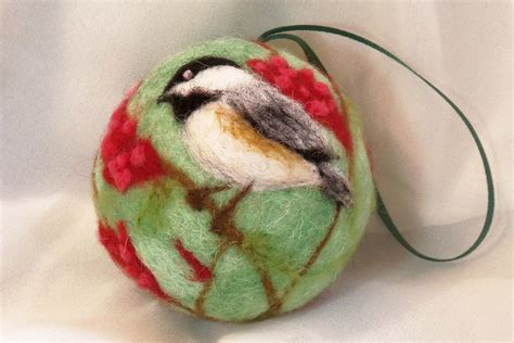 needle felted christmas ornament chickadee on sumac bush