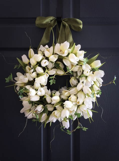 wreath for front door white tulips with ivy wreath spring wreaths front door