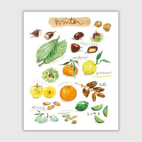 printable fruit poster winter fruits fruit print watercolor fruit poster 8x10