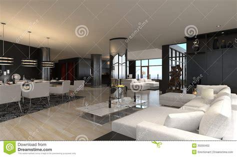 modern living room interior design loft stock