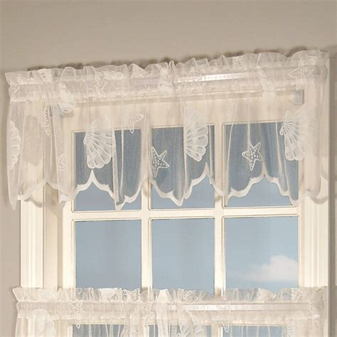 seashell lace curtains seashells lace tailored valance 56 x 13 touch of class