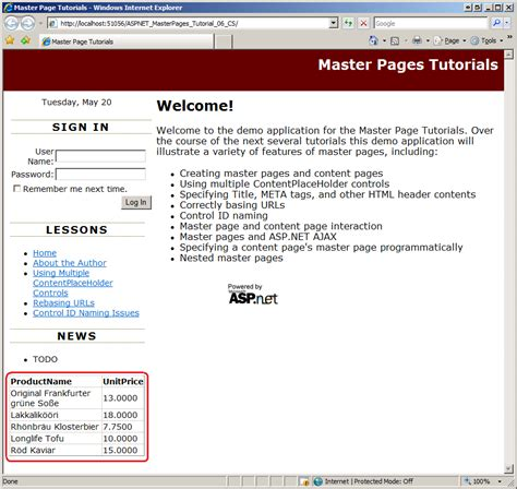 tutorial asp net master page interacting with the master page from the content page vb