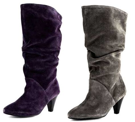 purple and grey suede slouch boots from dorothy perkins