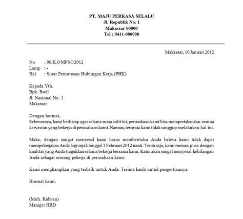 contoh surat pemutusan hubungan kerja phk resmi