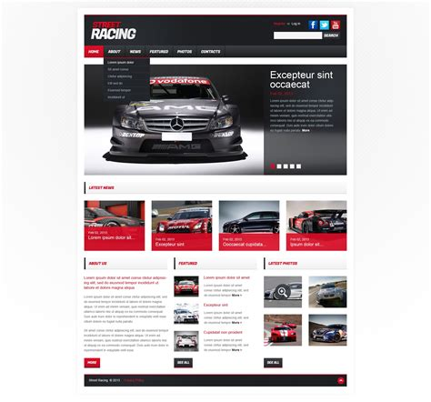 motor website car racing responsive website template 42121