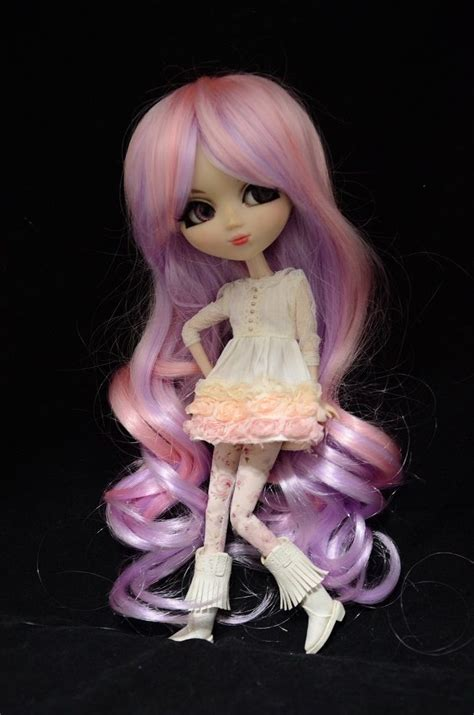 Candydoll Wig Blue Pink purple pink curly wig hair pullip dal 1 3 doll doll not included blythe pullip