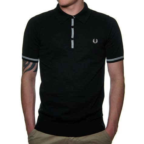 Polo Shirt Fred Perry fred perry k9373 s knitted polo shirt in black fred