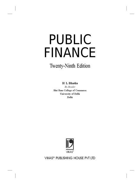 Download Public Finance Book PDF Online 2020 by H L Bhatia.
