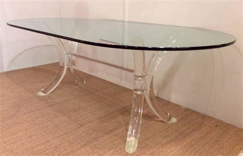 Oval Glass Top Dining Table Lucite Dining Table With Oval Glass Top By Charles Hollis Jones At 1stdibs