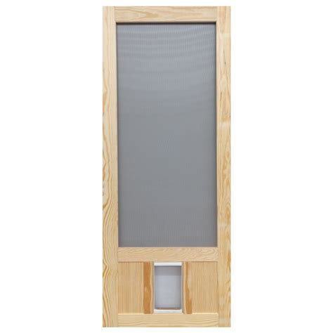 door for screen door shop screen tight chesapeake wood wood hinged screen door with pet door common 30 in